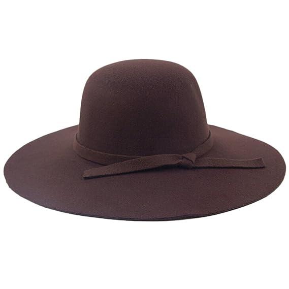 chendongdong - Mujeres Damas Vintage fieltro lana tapas de ala ancha Bowler  Bombín cubo sombreros Fedora 7cbb2107a5e
