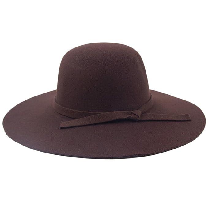 471be7c60a0d3 chendongdong - Mujeres Damas Vintage fieltro lana tapas de ala ancha Bowler  Bombín cubo sombreros Fedora