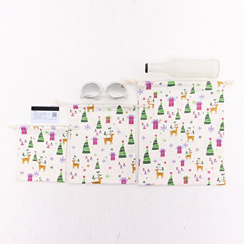 White Bag Christmas Storage Printing Bag Drawstring Bag Tree Beam Travel SMILEQ Gift Port zqEwx7A7f