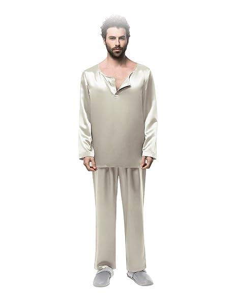Pijamas de Seda con Diseño Clásico Manga Larga