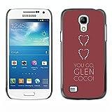 LASTONE PHONE CASE / Slim Protector Hard Shell Cover Case for Samsung Galaxy S4 Mini i9190 MINI VERSION! / You Go Heart Maroon Brown Clean