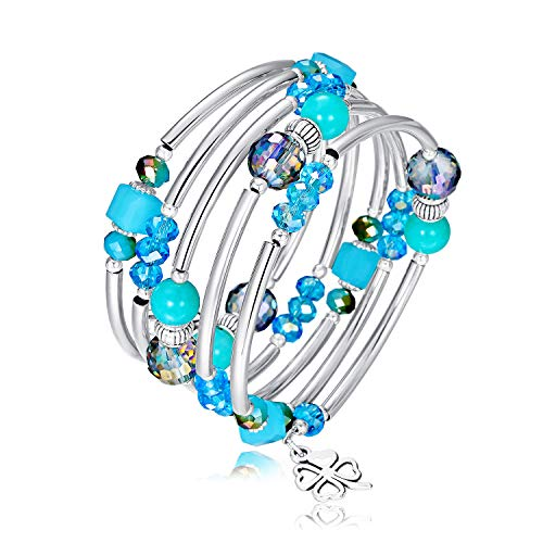 Crystal Wrap Bangle Bracelets for Women - Fashion Boho Strand Bracelet Made with Swarovski Crystals, Bead Bracelets for Birthday, Mother's Day, Best Gifts for Women Girls