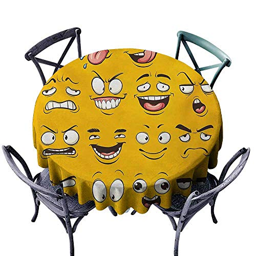 Clear Expressions Overlays - VIVIDX Spillproof Tablecloth,Emoji,Smiley Surprised Sad Hot Happy Sarcastic Angry Mood Faces Expression Plain Backdrop Print,Table Cover for Home Restaurant,40 INCH,Yellow