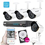 TECBOX 4 Channel 720P AHD Home Security Camera System DVR Recorder 2TB Hard Drive Preinstalled With 4 HD 1.3MP Waterproof Night Vision Indoor Outdoor CCTV Surveillance Camera