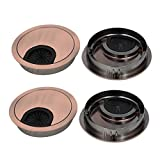 uxcell 60mm Zinc Alloy Wire Cable Hole Covers Copper Tone 4pcs for Computer Desk Table