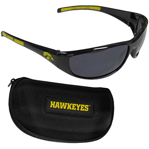 Siskiyou NCAA Iowa Hawkeyes Wrap Sunglasses & Zippered Case, Black
