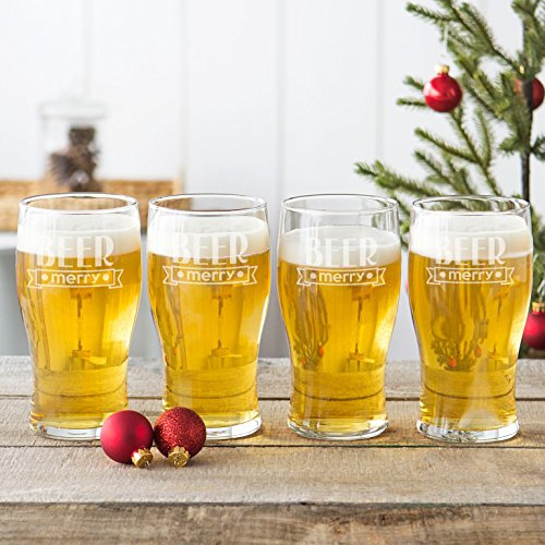 Glasses Concepts Pilsner Cathys - Cathy's Concepts H17-4115-4 19 oz Beer Merry Pilsner Glasses Clear