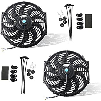 MOSTPLUS Black Universal Electric Radiator Slim Fan Push/Pull 12V + Mounting Kit (12 Inch) Set of 2