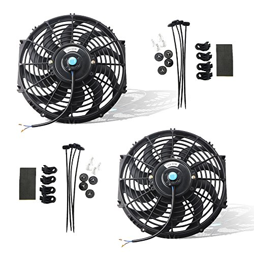 - MOSTPLUS Black Universal Electric Radiator Slim Fan Push/Pull 12V + Mounting Kit (12 Inch) Set of 2