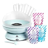 Cotton Candy 3 Flavor Family Package by Carnus | Includes – Blue Cotton Candy Maker, a Sugar Scoop, 50 White Paper Cotton Candy Cones,& 3 Bags of Candy Floss Sugar – Pink Vanilla, Blue Raspberry,Grape