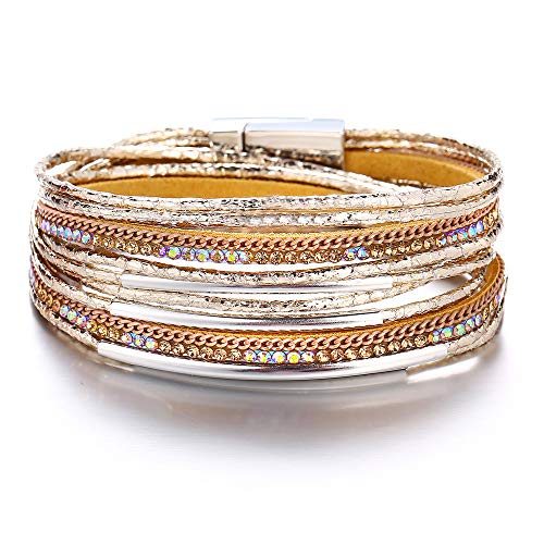 17mile Gold Multilayer Leather Wrap Bracelet Handmade Crystal Cuff Bangle Alloy Magnet Buckle Bracelets for Women,Girls Gift
