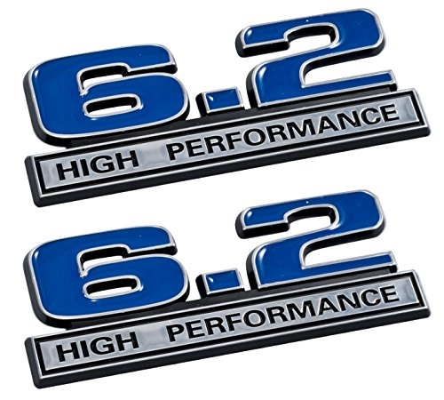 6.2 Liter High Performance Emblems in Blue and Chrome - Pair