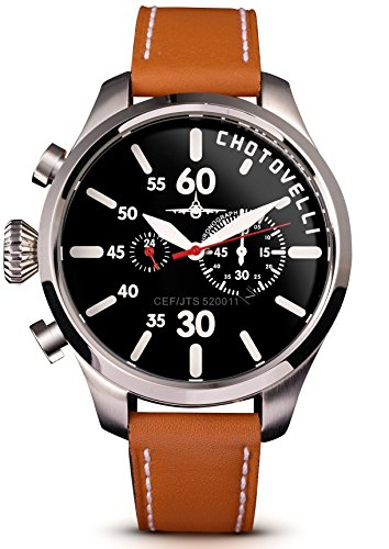 Aviator Pilot Chronograph Watch - Chotovelli Aviator Pilot Men's Watch Chronograph display Italian tan leather Strap 52.11