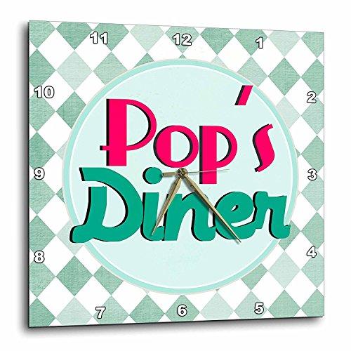3dRose dpp_151673_3 Pops Diner on Aqua-Retro Hot Pink