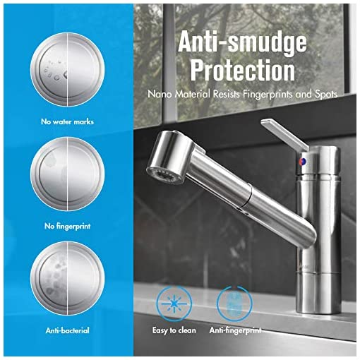 Kitchen APPASO Modern Kitchen Faucets with Pull-Out Sprayer Brushed Nickel, Single Hole Single Lever for RV Kitchen Sink Bar… modern sink faucets