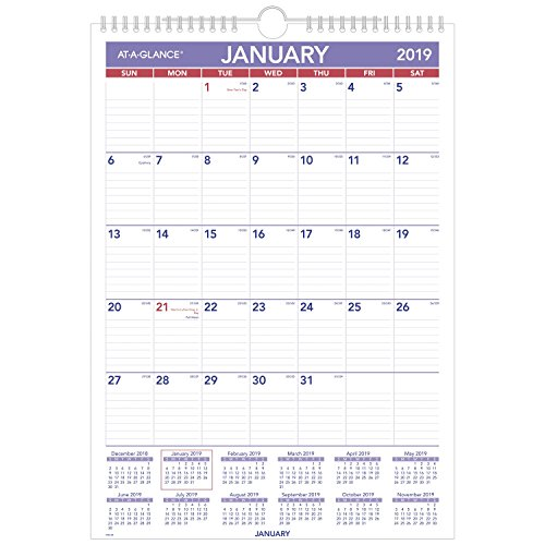 at-A-Glance PM228-18 Monthly Wall Calendar, January 2019 - December 2019, 12'' x 17'', Wirebound (PM228) by At-A-Glance