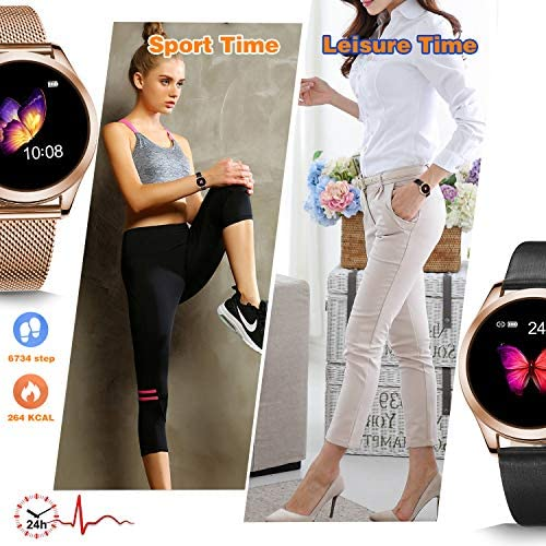 SmartDaily Smart Watches for Women Leather Strap, Color Touch Screen Ladies Smartwatch Waterproof IP68, Activity Fitness Tracker with Heart Rate, ...