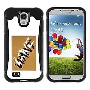 Suave TPU GEL Carcasa Funda Silicona Blando Estuche Caso de protección (para) Samsung Galaxy S4 IV I9500 / CECELL Phone case / / Love Letters Want Golden Brown White /