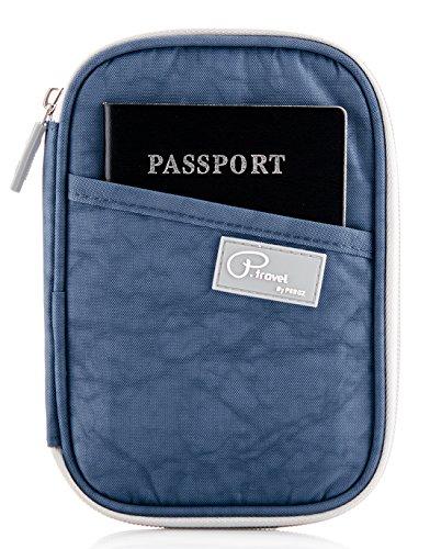 Travel Wallet Passport Holder, Document Organizer for ID Card Passport Cover Case (Dark Blue) by JJ POWER