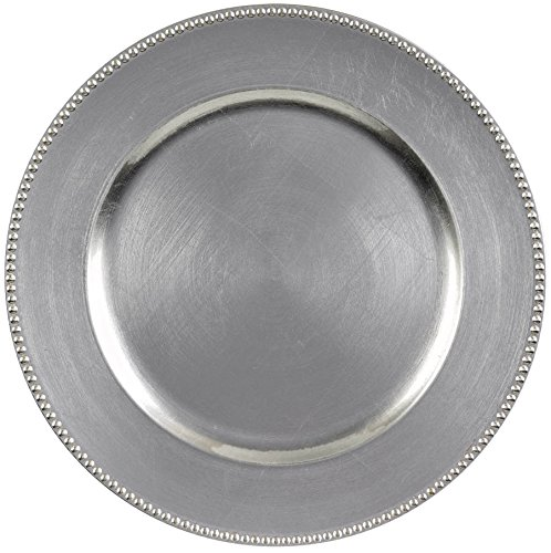 Elegant Round Metallic Plastic Charger Party Table Reusable Serveware and Dishware, Silver, 14