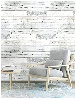"""HaokHome MR47 Peel and Stick Wood Wallpaper Shiplap Light Grey/White Distressed Wood Plank Removable Wallpaper Self-Adhesive 17.7""""x 9.8ft"""