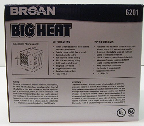 Space Heaters 6201 Broan Big Heat Cube Portable Electric
