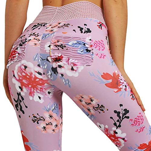 9b66b46eff1f4 Womens Ruched Butt Lifting Leggings Floral High Waisted Sport Stretchy  Skinny Tummy Control Workout Gym Yoga