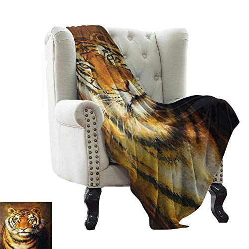 Chunky Tigers Eye - BelleAckerman Chunky Knit Blanket Tiger,Oil Painting Style Big Cat Purposeful Eyes Carnivore Bengal Feline of East,Black Light Brown Extra Cozy, Machine Washable, Comfortable Home Decor 60