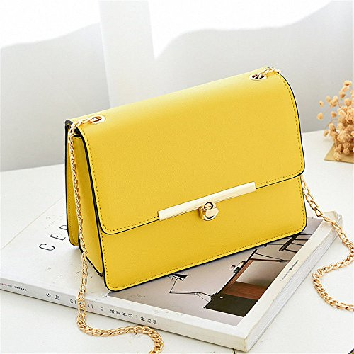 SJMMBB Mini Rotary Lock Pocket, Lady Shoulder Bag, Shoulder Chain Bag,Yellow,20X15X9Cm