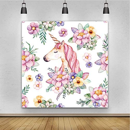 Vinyl 5x5ft Photography Background Watercolor Painting Backdrop Color Flowers Spring Blossoms Leaves Cute Unicorn Pattern Children Baby Birthday Party Decorations Video Studio Props