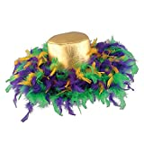 Pack of 6 Green, Golden-Yellow and Purple Mardi Gras Feather Costume Party Hats