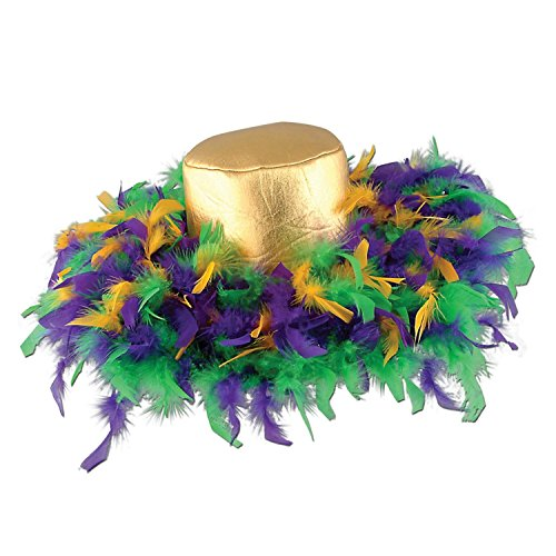 Pack of 6 Green, Golden-Yellow and Purple Mardi Gras Feather Costume Party Hats by Party Central