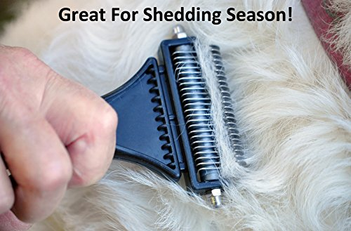 Dog & Cat Dematting/Deshedding Rake/Comb with Double Sided Blade. Strips Out Mats & Knots. Removes Loose Undercoat. Ergonomic Soft Grip Handle. Best Tool During Shedding Season by Vets Pride USA (Image #4)