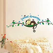 Monkey Birds Forest Green Leaves Wall Decal PVC Home Sticker House Vinyl Paper Decoration WallPaper Living Room Bedroom Kitchen Art Picture DIY Murals Girls Boys kids Nursery Baby Playroom Decor