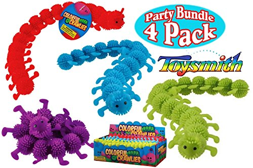 Toysmith Colorful Crawlies Red, Blue, Green & Purple Complete Party Set Bundle - 4 -