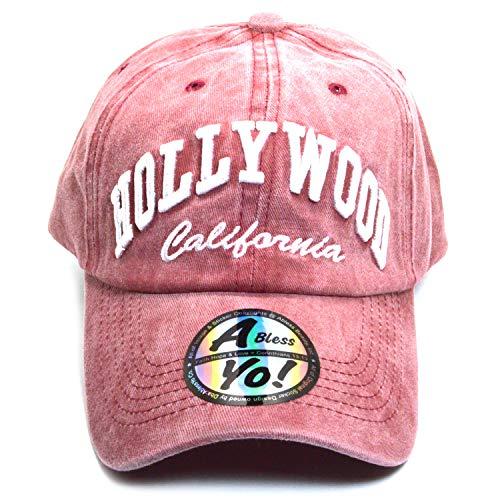 - AblessYo Hollywood California Baseball Golf Polo Style Hat Unisex Cotton Cap AYO6058 (Burgundy)