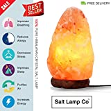 7-11 Lbs Large Himalayan Crystal Rock Salt Lamp Set-Hand Carved Natural Air Purifiers Home Decor¨CUse as Table, Desk or Bedroom Lamp-Adjustable Lighting with Wood Base