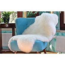 XL Genuine white Sheepskin Rug !!! Natural Fur, soft single pelt 4ft. x 2,5ft. DSO-0001