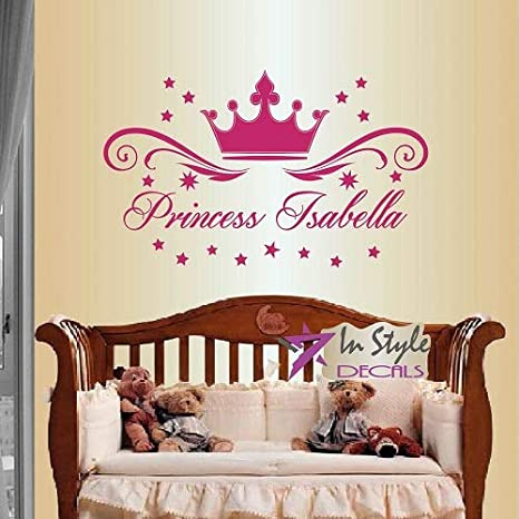 Princess Crown Vinyl Wall Decal or Queen Crown Personalized for Girl/'s Bedroom or Nursery