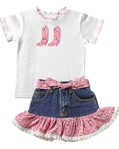 KIDDIE KORRAL 2 PIECE DENIM SKIRT AND TEE, Pink, 5
