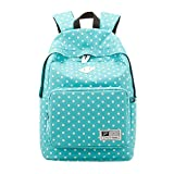 Win8Fong Girls' Polka Dots Canvas Travel Bag School Backpack