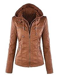 Showlovein Women Hooded Faux Leather Jacket Hat Detachable Motorcycle Jacket