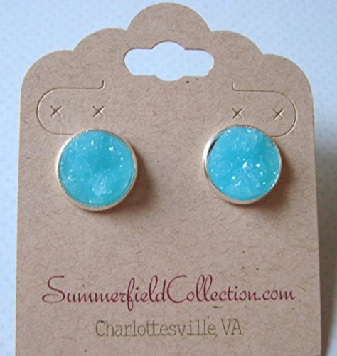 Silver-tone Aqua Blue Faux Druzy Stone Stud Earrings 12mm