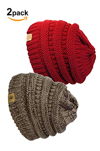 Basico Unisex Warm Chunky Soft Stretch Knit Slouch Beanie Cap Hat (101 2pk M.Berry/Red)