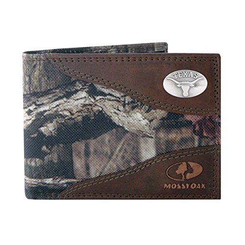 NCAA Texas Longhorns Zep-Pro Mossy Oak Nylon and Leather Passcase Concho Wallet, Camouflage, One Size