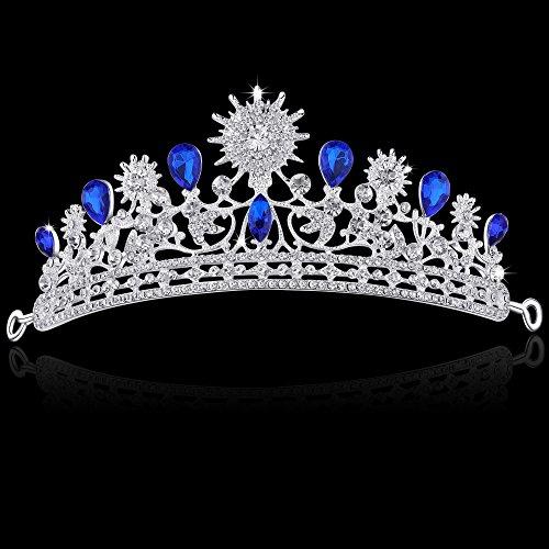 BABEYOND Crystal Queen Tiara Crown Rhinestones Princess Tiara Crown with Comb Pin Bridal Wedding Crown Tiara Headband (Style 2-Royal blue)