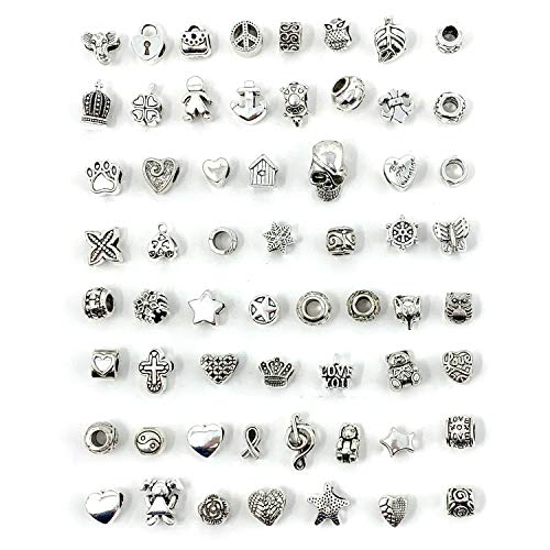 JIALEEY Wholesale Bulk Mix 60 Pcs Tibetan Silver Tone Color Spacer Loose Beads Fit European Charm Bracelet Lot for Jewelry Making Findings DIY - European Charm Bead