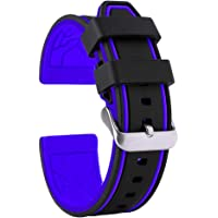 20mm 22mm 24mm 26mm in silicone orologio da polso impermeabile con fibbia in acciaio INOX bicolore, colore: Nero/Blu/Bianco/arancione/giallo/rosso/grigio