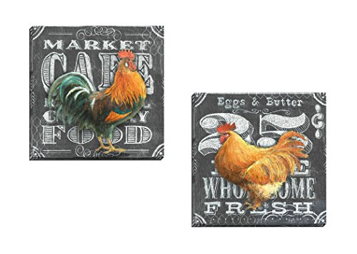 "Portfolio Canvas Decor Framed and Stretched Ready to Hang Chalkboard Rooster 25 Cents Canvas Wall Art by Geoff Allen (Set of 2), 16 x 16""/Large"