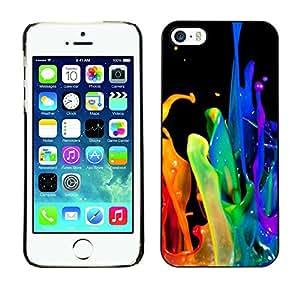 X-ray Impreso colorido protector duro espalda Funda piel de Shell para Apple iPhone 5 / iPhone 5S - Dynamic Drop Rainbow Black Gay